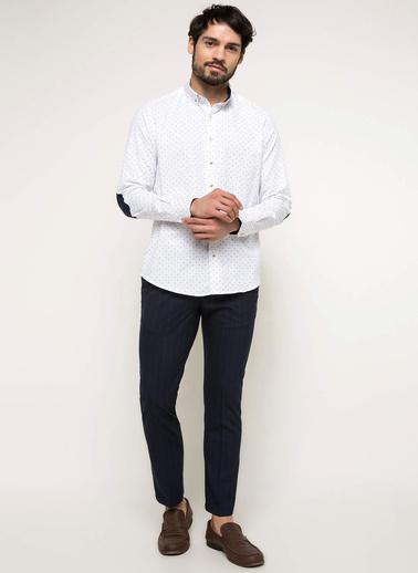 DeFacto Modern Fit Baskılı Gömlek Beyaz